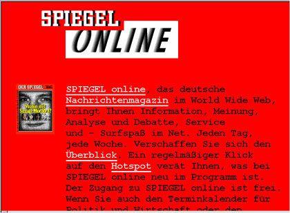 Erste Gehversuche: SPIEGEL ONLINE 1995