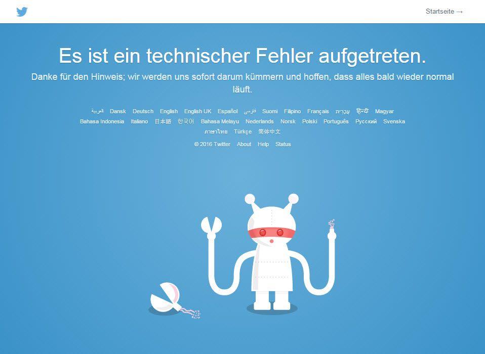 NUR ALS ZITAT Screenshot Twitter/ Fehlermeldung