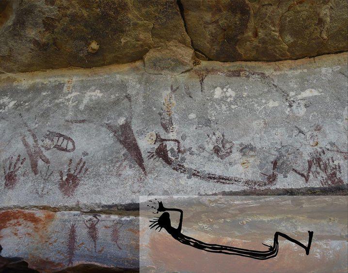 Auch die Zeichnung eines Menschen haben Künstler an der Felswand in Kimberley hinterlassen