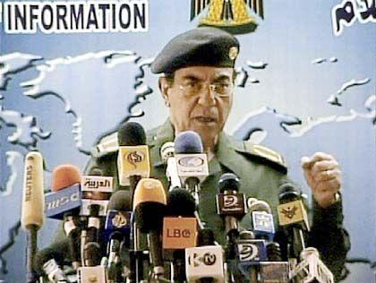 """Mohammed Saïd al-Sahhaf bei der Arbeit: """"Ihre Mägen werden in der Hölle braten"""""""