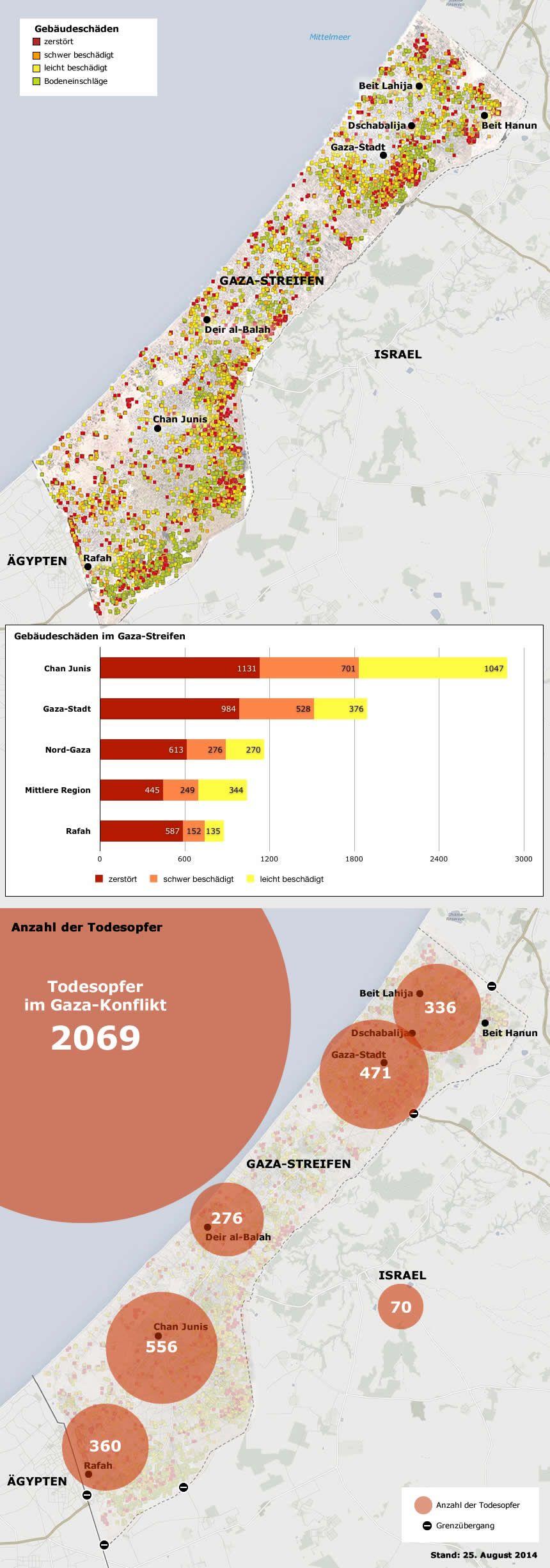 Karte Gaza Konflikt Zerstörung Tote