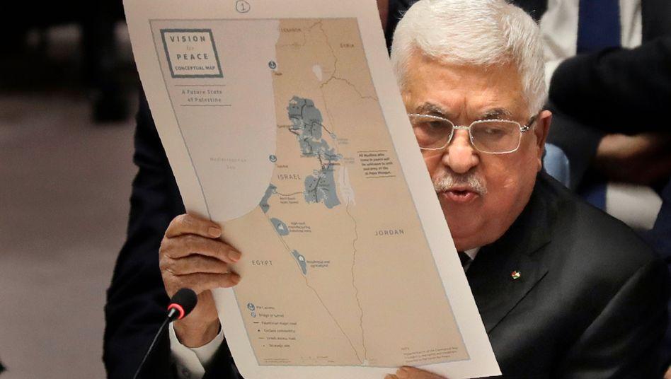 Sein Staat existiert nur auf dem Paper: Palästinenserpräsident Mahmoud Abbas im Uno-Sicherheitsrat in New York (im Februar)