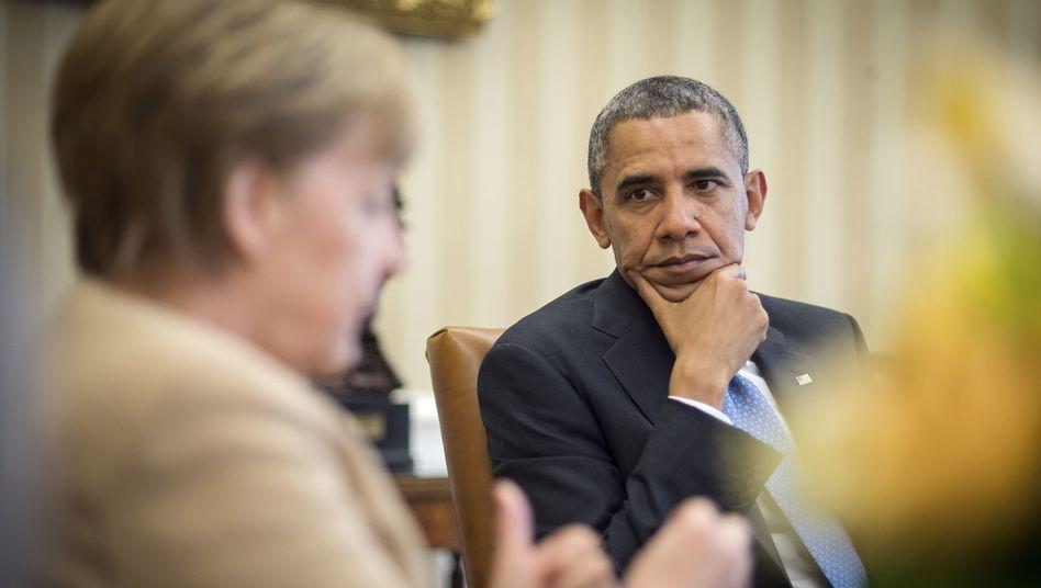 Kanzlerin in den USA: Merkel und Obama drohen Putin mit neuen Sanktionen