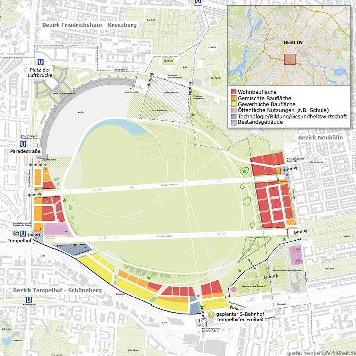 Verworfener Plan für eine Teilbebauung des Tempelhofer Felds in Berlin