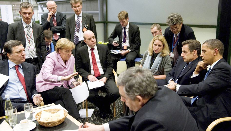 US President Barack Obama with European leaders at the Copenhagen talks.