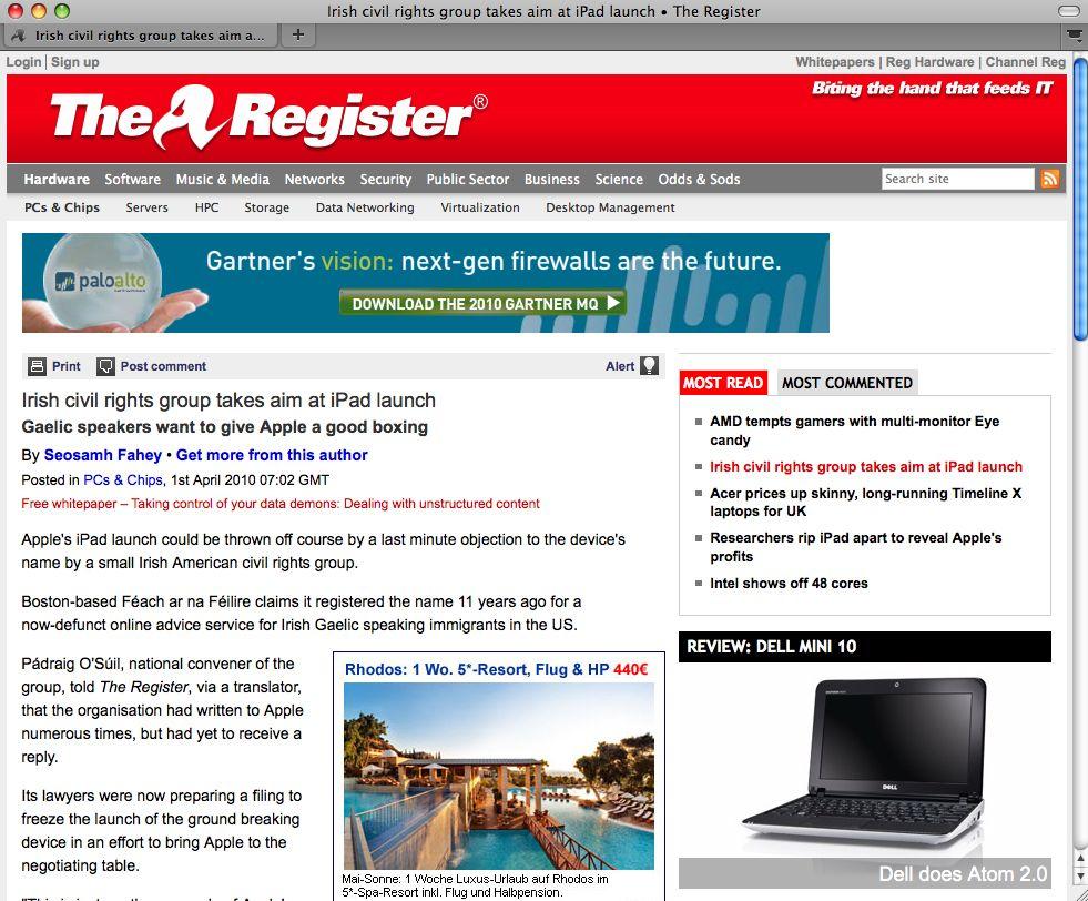 SCREENSHOT The Register