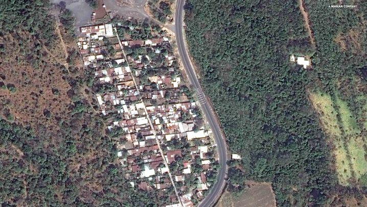 Das Bild zeigt die Ortschaft San Miguel Los Lotes vor und nach dem Vulkanausbruch