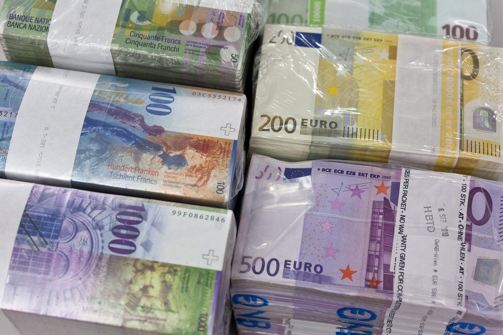 Schweizer Franken/ Euro/ Geldscheine