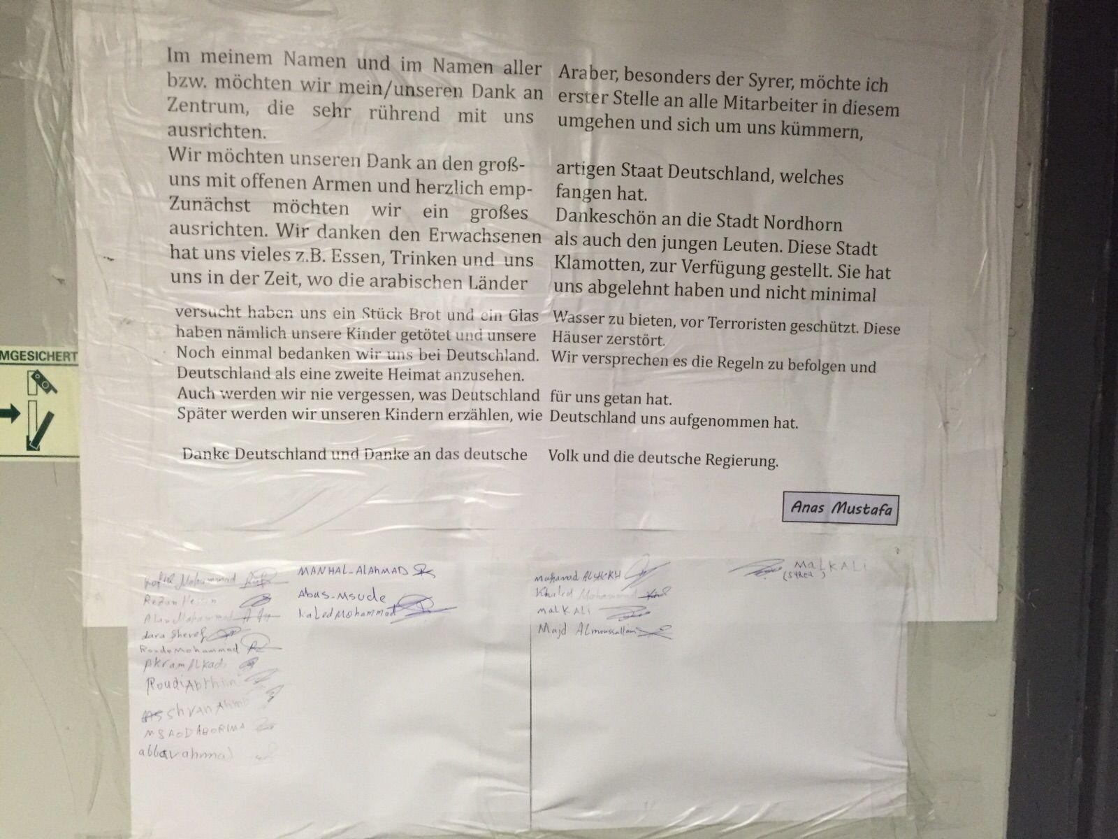 EINMALIGE VERWENDUNG Flüchtlinge in Nordhorn bedanken sich