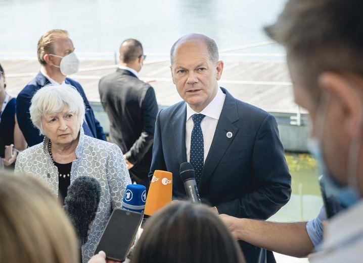 US-Finanzministerin Janet Yellen und Olaf Scholz (SPD) auf dem G20-Gipfel in Venedig