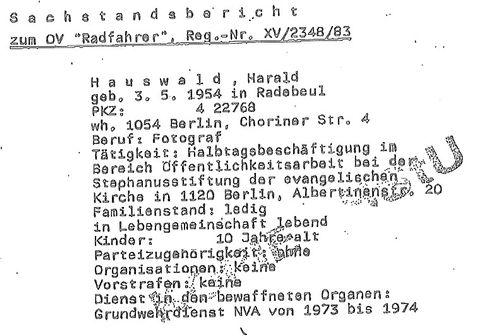 Aus der Stasi-Akte über Harald Hauswald