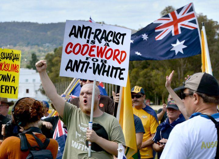 """Protestler in Canberra: """"Wir sind keine Rassisten"""""""