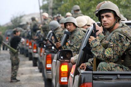 Georgische Truppen am 8. August nahe der südossetischen Hauptstadt Zchinwali: OSZE-Hinweise belasten Tiflis