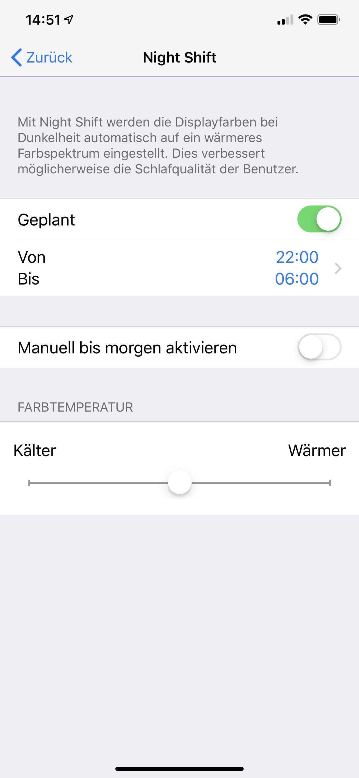 NUR ALS ZITAT Screenshot iPhone/ Night Shift