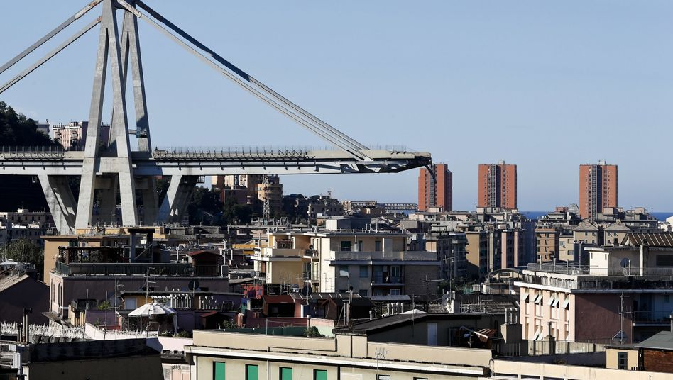 Zerstörte Morandi-Brücke in Genua
