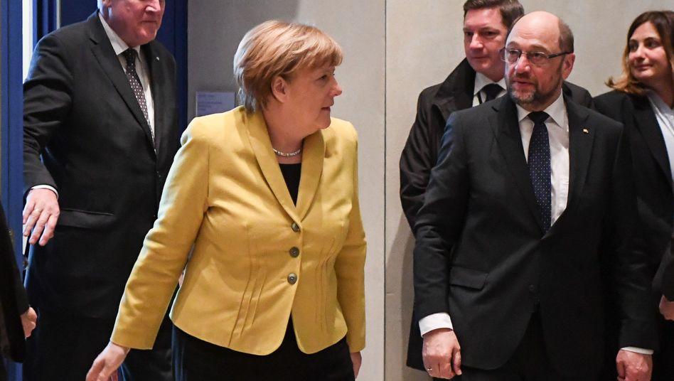 CSU-Chef Seehofer, Kanzlerin Merkel, SPD-Chef Schulz