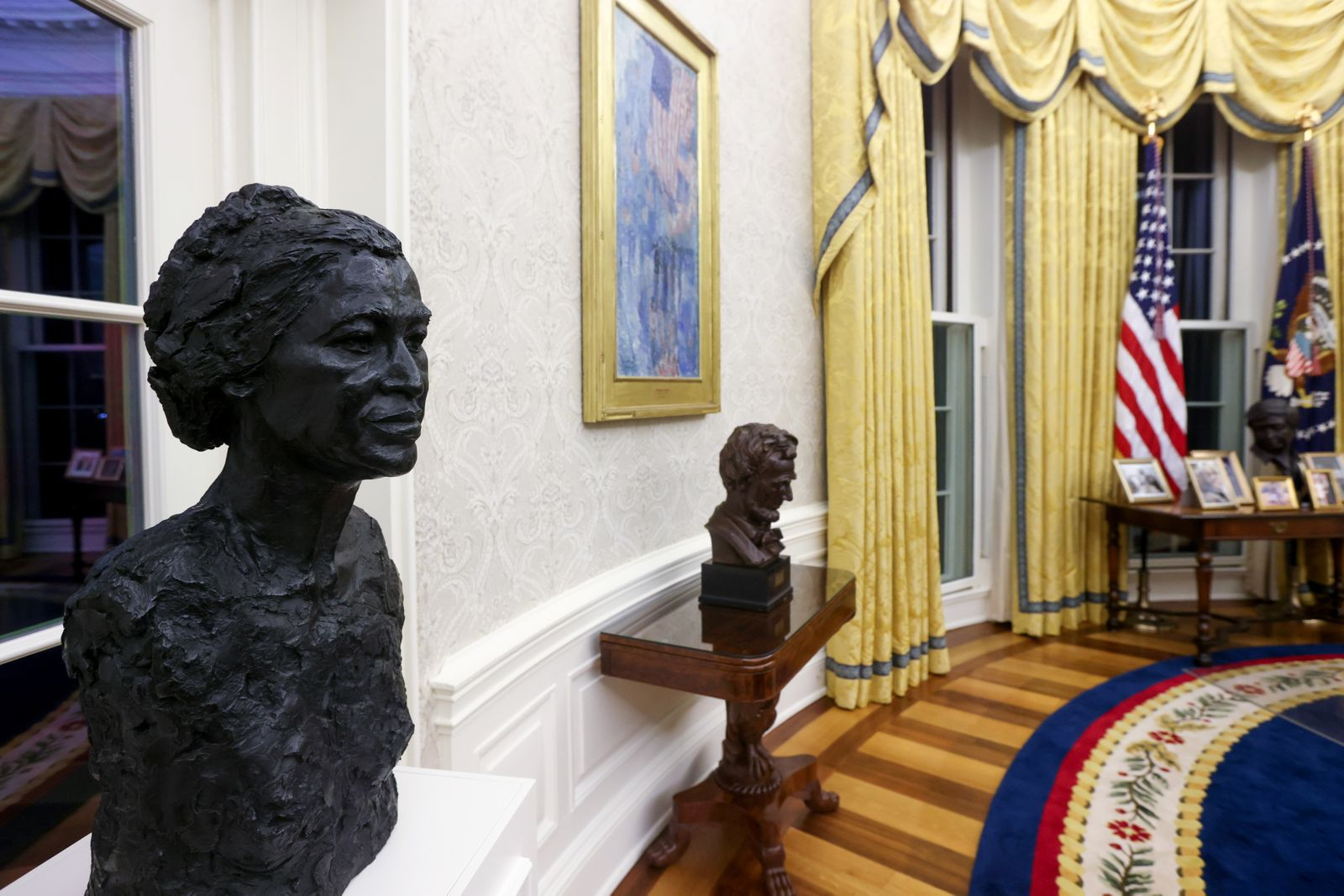 A general view shows President Biden?s redecorated Oval Office at the White House in Washington