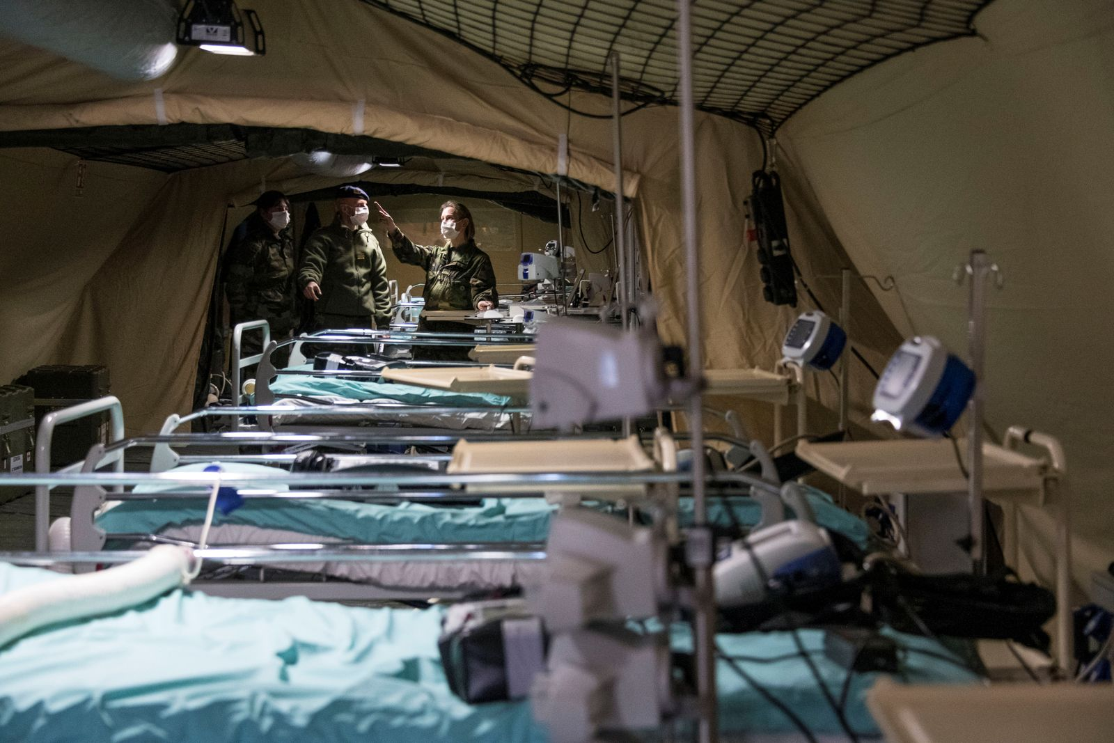 French soldiers work at a military field hospital before its opening in Mulhouse