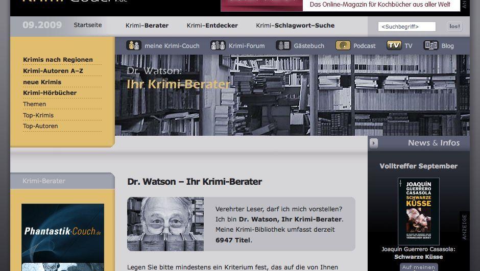 Krimi-Berater Dr. Watson: Spezialsuchmaschine für spannende Literatur