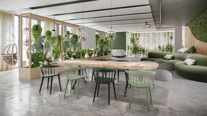 Meeting im grünen Bereich: Pflanzen und Holz schaffen eine lauschige Atmosphäre