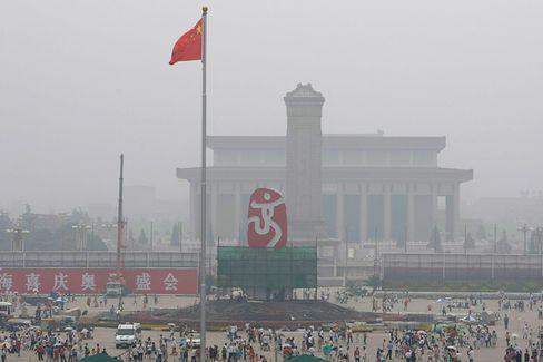 Der Tiananmen Platz am 27. Juli: In zehn Tagen soll die Luft rein sein