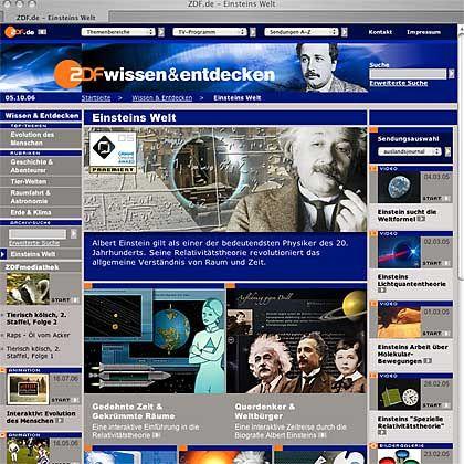 Einstein-Special des ZDF: Grimme Online Award 2005
