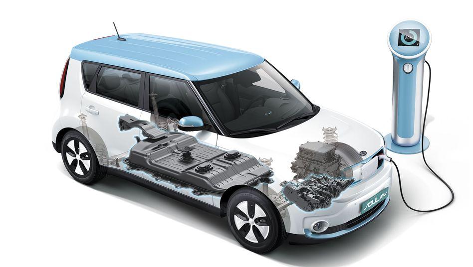 Position der Batterie im E-Auto Kia Soul