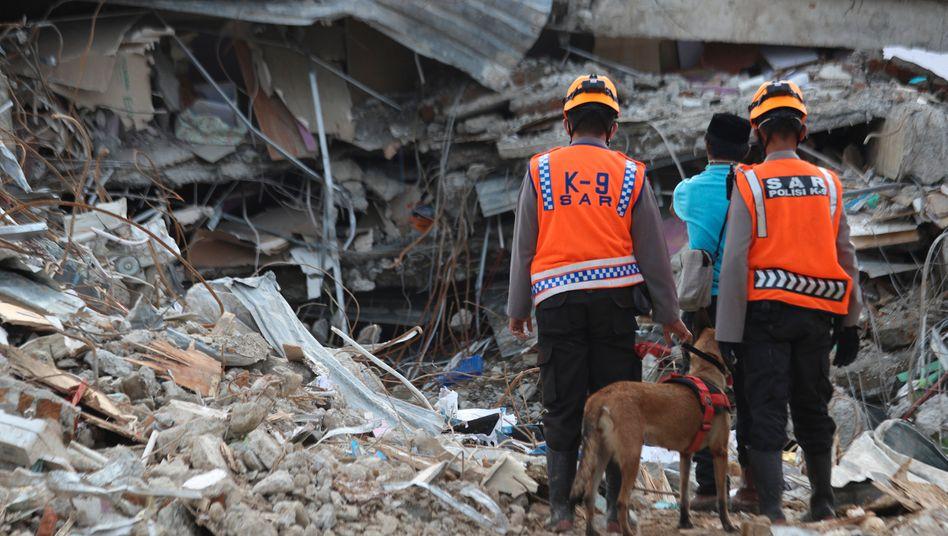Retter mit Suchhund vor einem Trümmerberg auf der Insel Sulawesi