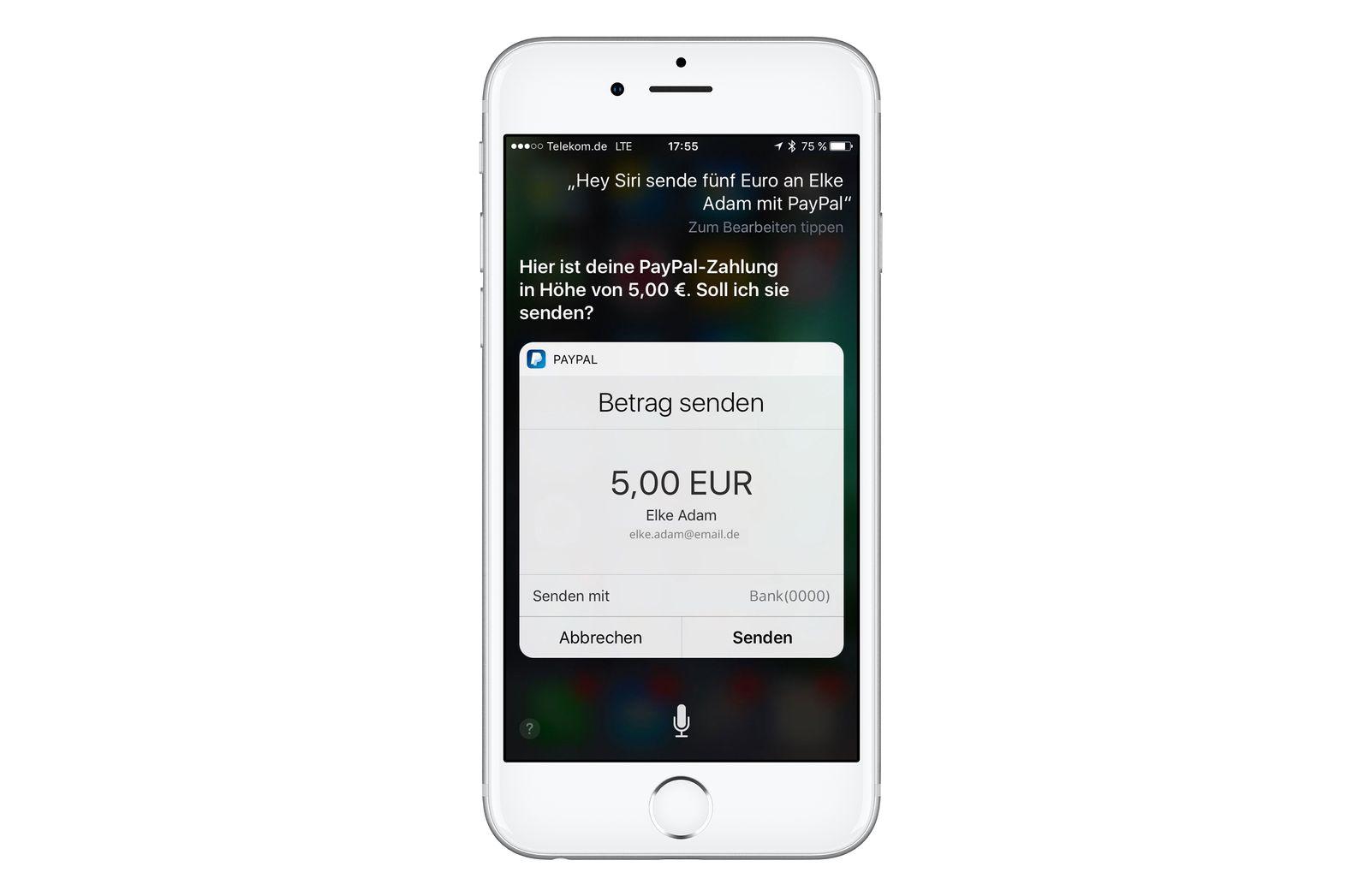 PayPal und Siri/ Sperrfrist 10.11. 7 Uhr