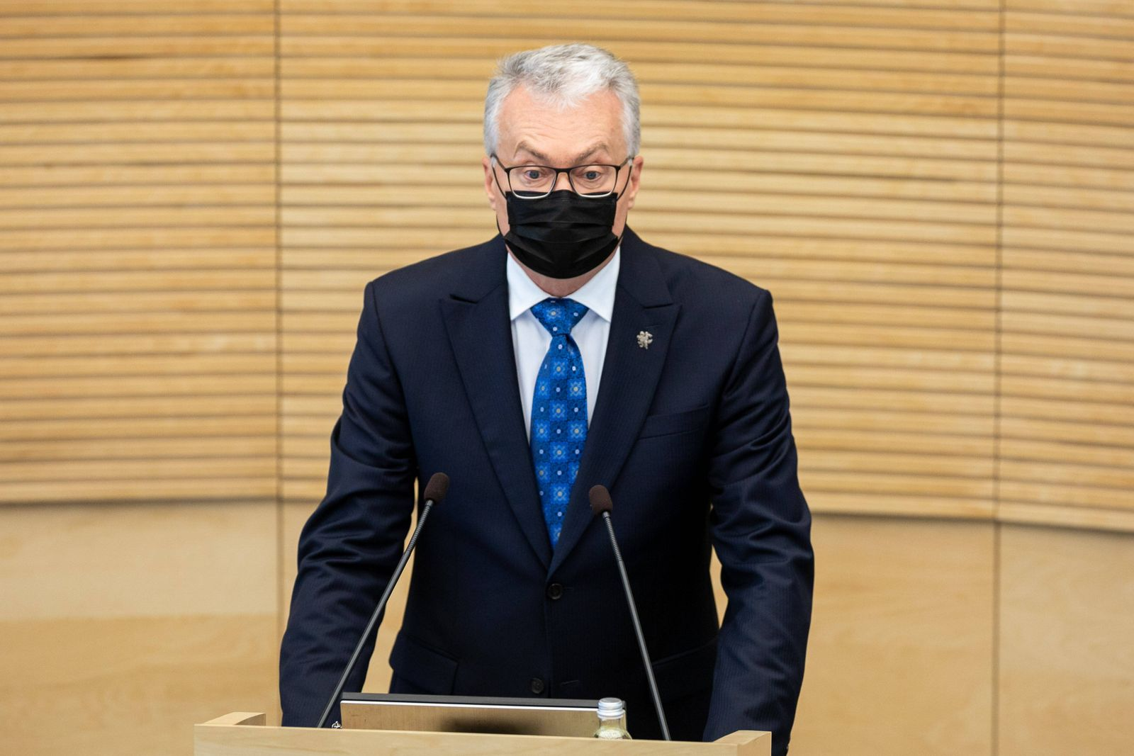 2021-06-08 Vilnius Lithuania. Lithuanian president Gitanas Nauseda delivers annual speech at Seimas (Parliament) on Tues