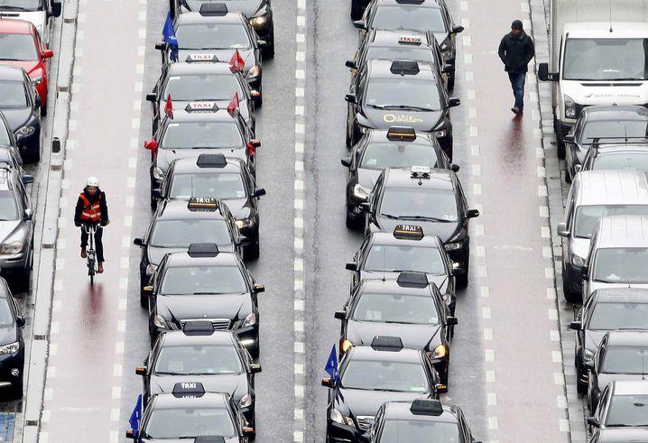 Taxifahrerprotest gegen Uber in Brüssel: Besser selbst etwas ausdenken