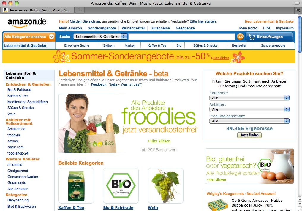 Screenshot / Amazon / Lebensmittel