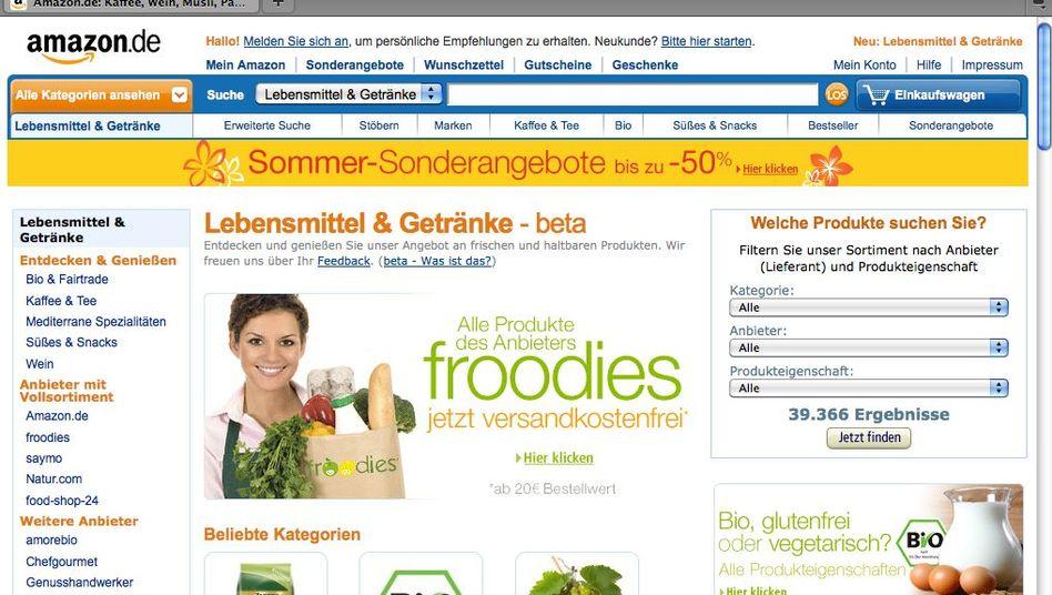 Amazon-Lebensmittel-Seite: Verlockendes Angebot