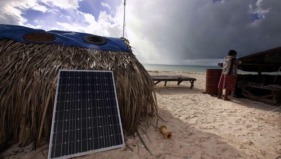 Gefährdet: Kiribati besteht aus Dutzenden kleinen Inseln, die nur wenige Meter aus dem Meer herausragen