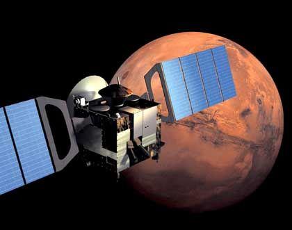 """Raumsonde """"Mars Express"""" (Zeichnung): Rendezvous der Planeten"""