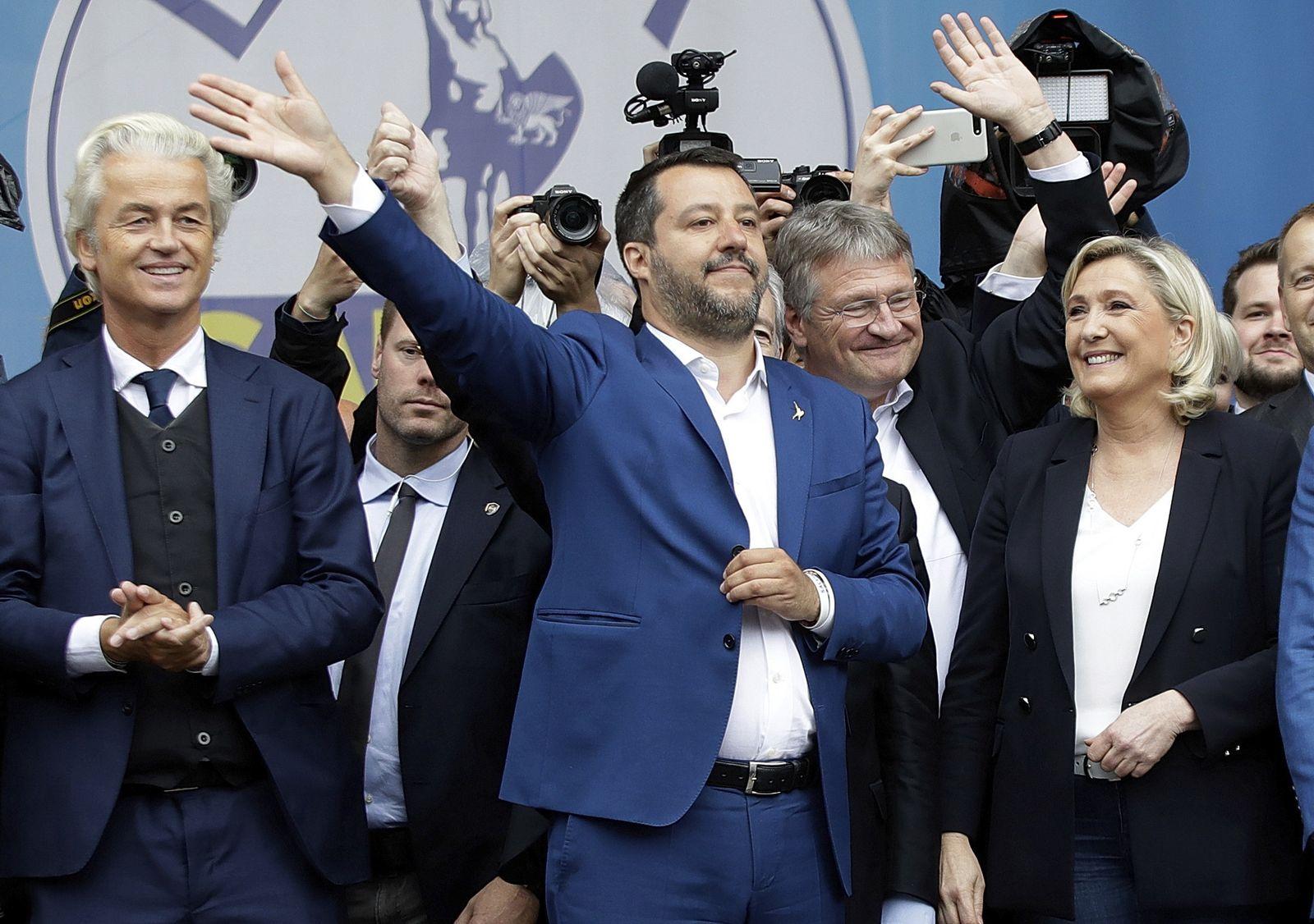 Geert Wilders, Matteo Salvini, Jörg Meuthen, Marine Le Pen
