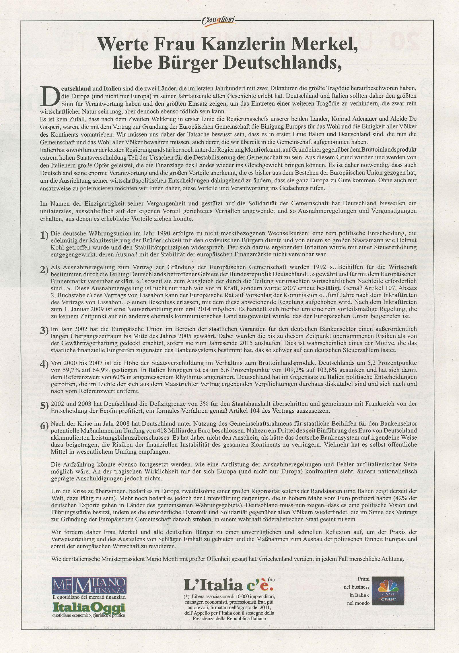 NUR ALS ZITAT Anzeige Handelsblatt / Italien