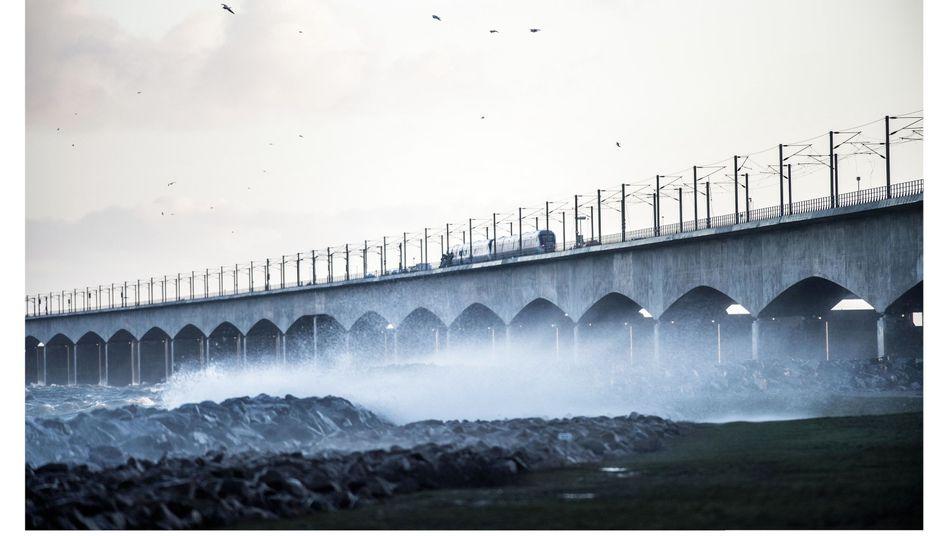 Ort der Kollision auf der Storebæltbrücke