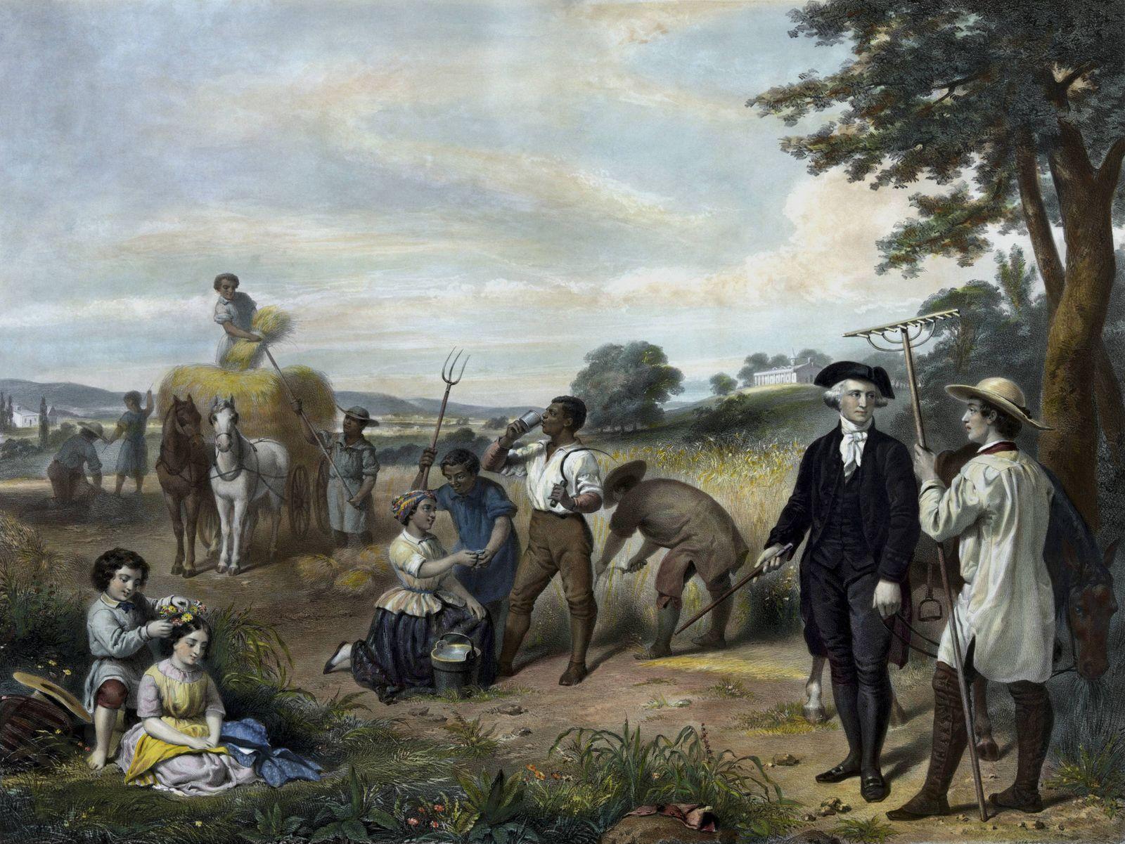 Vintage American history print of George Washington on his farm as slaves work the land behind him