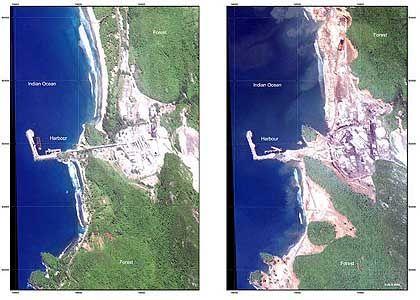 Banda Aceh vor und nach der Katastrophe: Sumatra um 36 Zentimeter verschoben