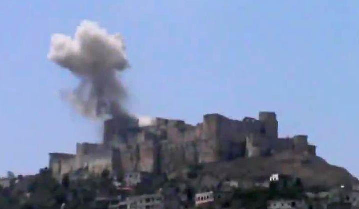 YouTube-Bild der beschädigten Kreuzritterburg Krak des Chevaliers
