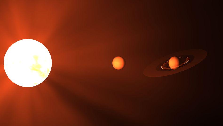Künstlerische Darstellung eines massereichen Sterns und zweier Planeten: Leben am Rande der Milchstraße?