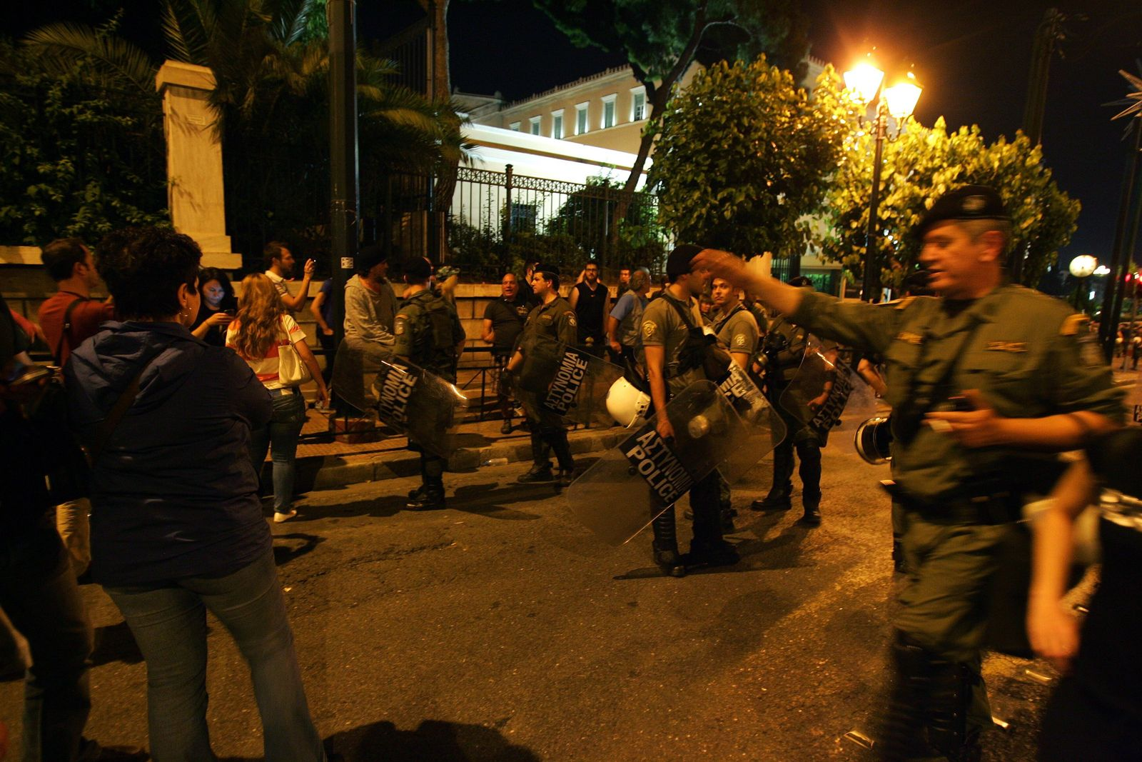 Protesters in front of the Greek parliament