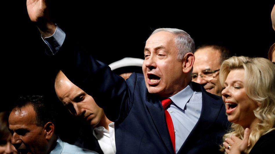 Benjamin Netanyahu auf einer Wahlkampfveranstaltung (Archivbild)