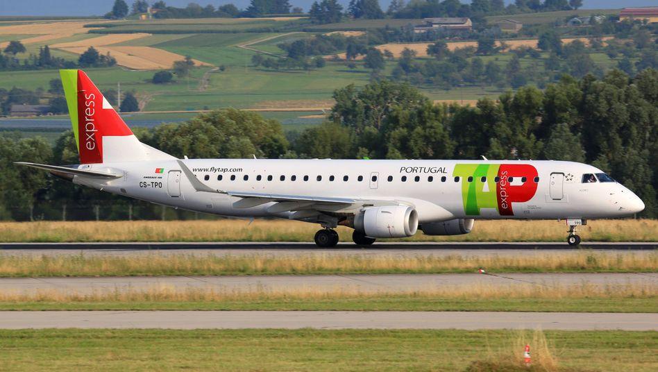 TAP-Flugzeug Flughafen am Stuttgarter Flughafen