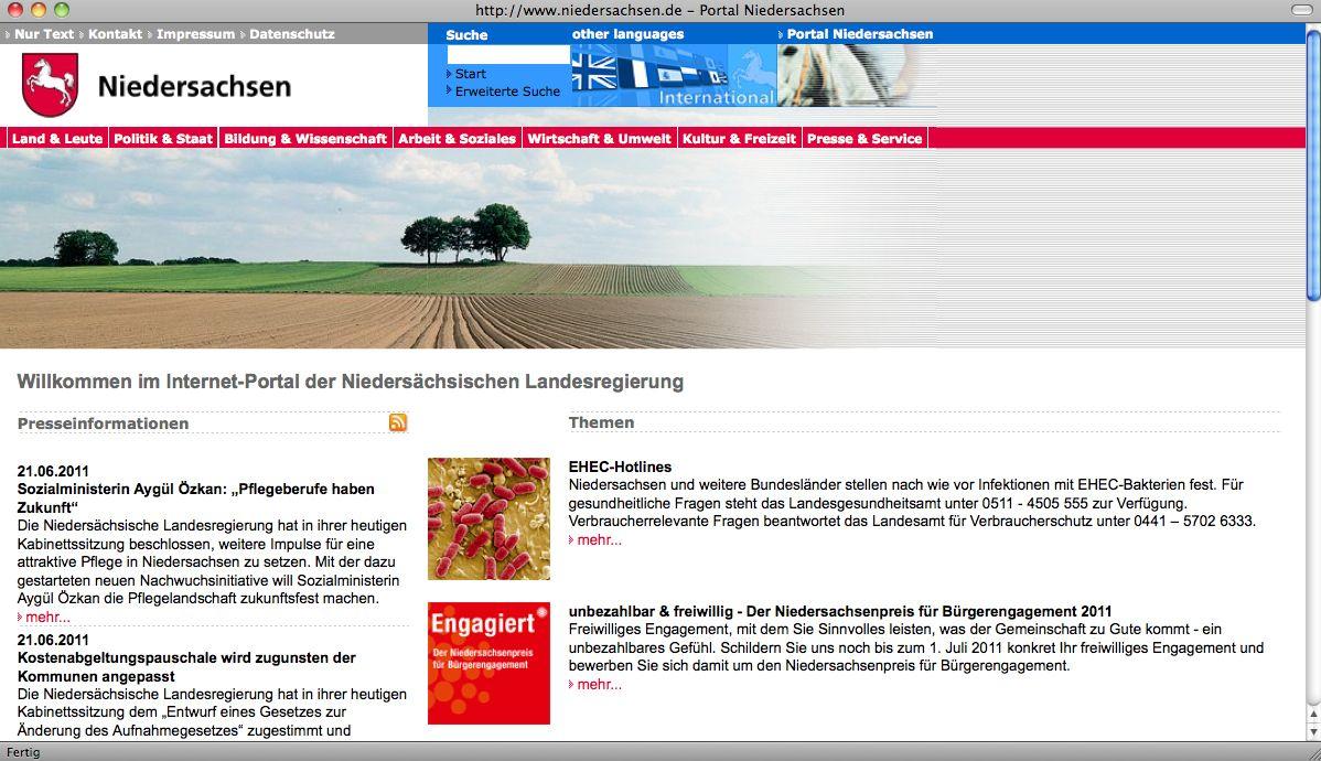NUR ALS ZITAT Screenshot / Niedersächsische Landesregierung / Internet -Portal