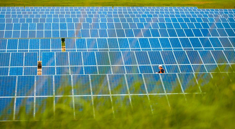 Module eines Solarstrom-Kraftwerkes in Brandenburg: Streit um Report des Weltklimarats