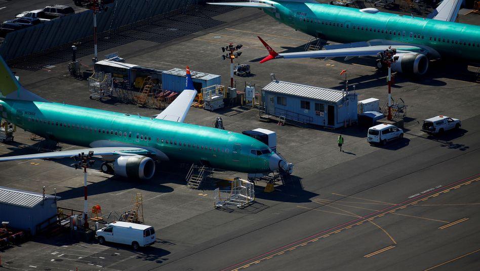 Unlackierte Boeing 737 MAX auf dem Boeing-Produktionsgelände in Renton im US-Bundesstaat Washington