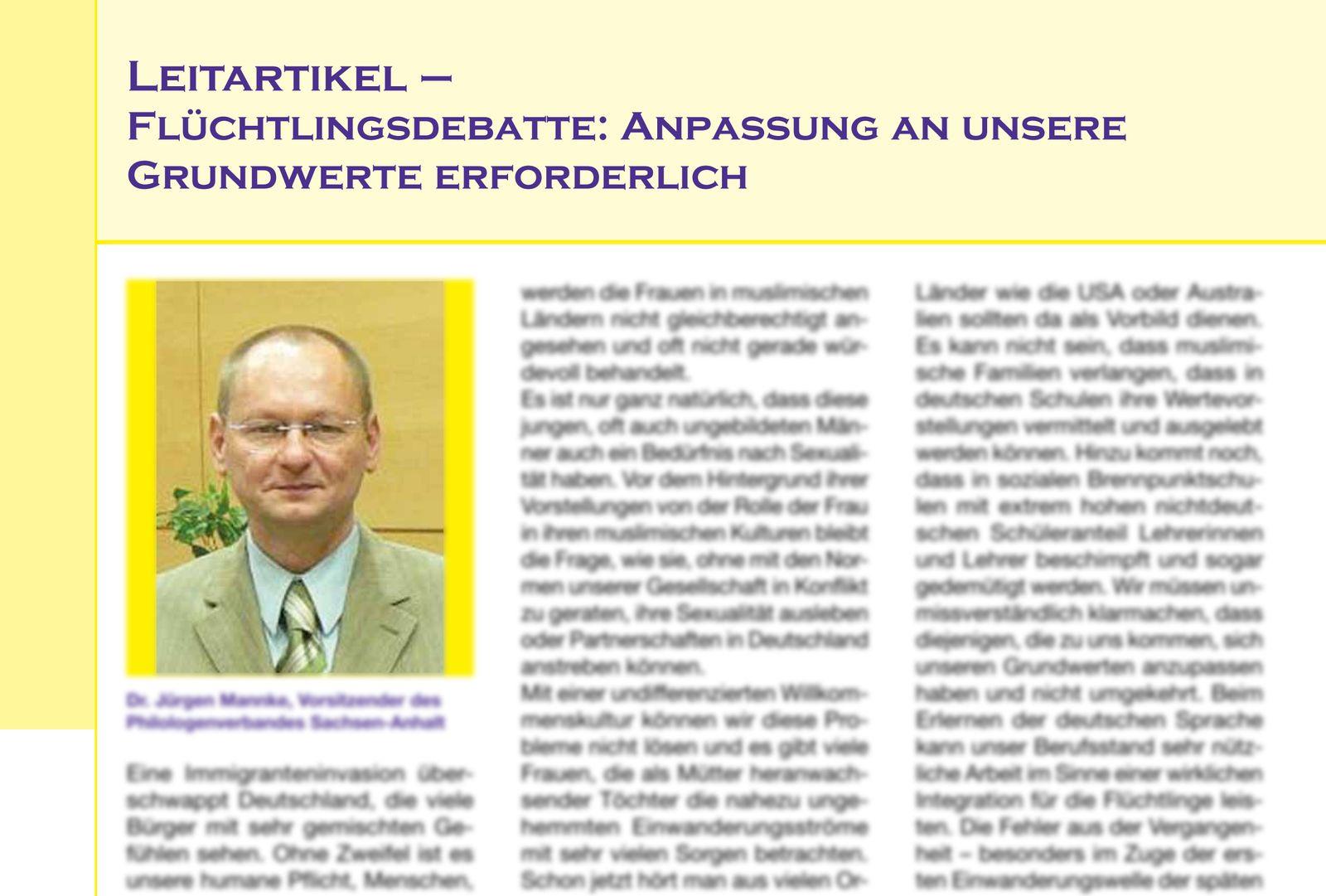 EINMALIGE VERWENDUNG NUR ALS ZITAT/ Editorial Zeitschrift des Philologenverbandes Sac