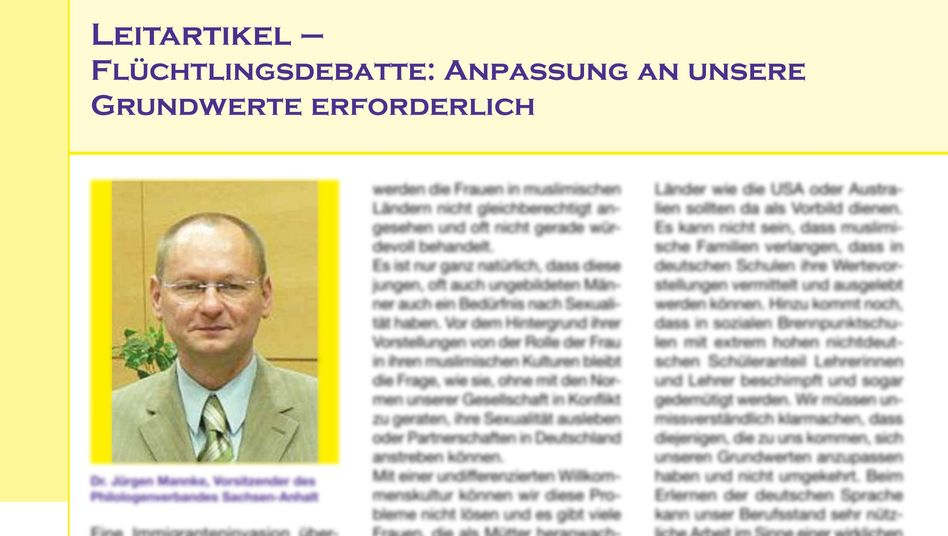 """Jürgen Mannke vom Philologenverband Sachsen-Anhalt: """"Ungebildete Männer mit Bedürfnis nach Sexualität"""""""